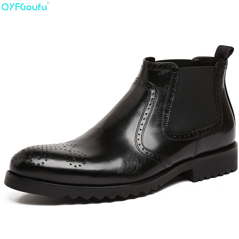 QIUFU British Formal Brogues Mens Chelsea Boots Elegant Slip-on Men Ankle Boots Genuine Leather Trendy Casual Dress Boots ShoesQIUFU British Formal Brogues Mens Chelsea Boots Elegant Slip-on Men Ankle Boots Genuine Leather Trendy Casual Dress Boots Shoes