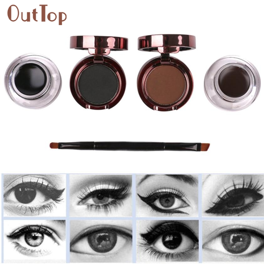Beautiful Women Amazing Waterproof Eyebrow Powder Eyeliner Gel Set With Definer Brush Mirror Kit <font><b>M8X15</b></font> image