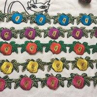 4,8 ярд Национальный Ветер блёстки Кружева Цветы Вышивка тесьма сценический костюм Одежда DIY Аксессуары Железный на патч 5 см Ширина