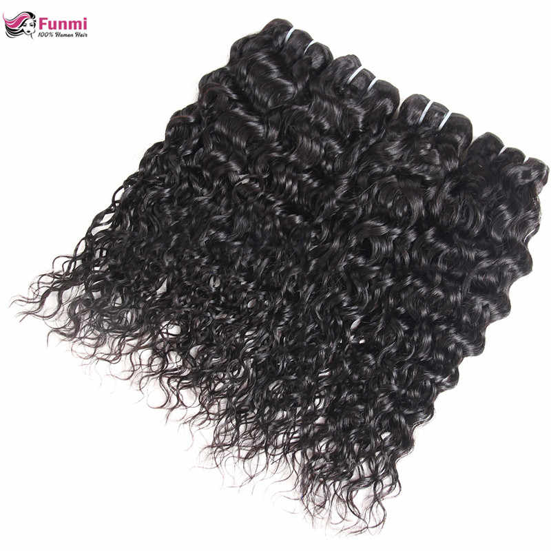 Paquetes de pelo virgen de onda de agua peruano Funmi 100% sin procesar armadura de cabello virgen humano 1/3/4 paquetes dobles trama de pelo de la máquina