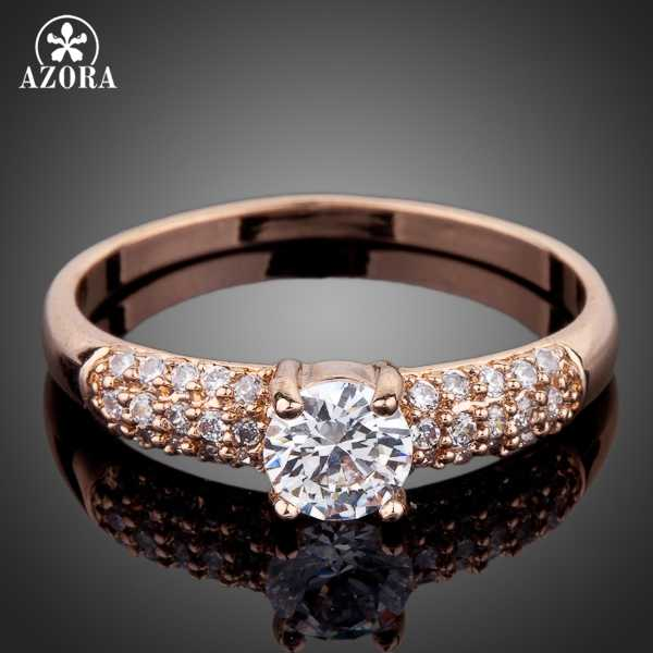AZORA Rose Gold Color 2ct Round Cut Cubic Zirconia with micro CZ Setting Engagement Rings for woman TR0078