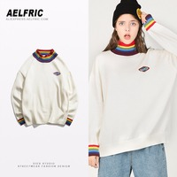 6b76e153d Aelfric Fashion Patch Knitwear Rainbow Collar Casual Sweaters Men Unisex  High Quality Harajuku White Loose Knit