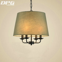 Modern LED White Green Cloth Lampshades Iron Kitchen Pendant Lights Fixture Hanging Lamp With E14 110v