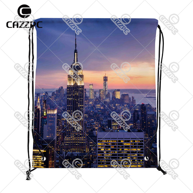 New York City with Skyscrapers at Sunset Print Custom individual Nylon Fabric Drawstring Shoes Storage Dust Bag Pack of 4