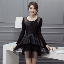2017 Women dress Mesh Lace Full Sleeve Skin Imitation Sheepskin Spell Velvet Dresses Black 525