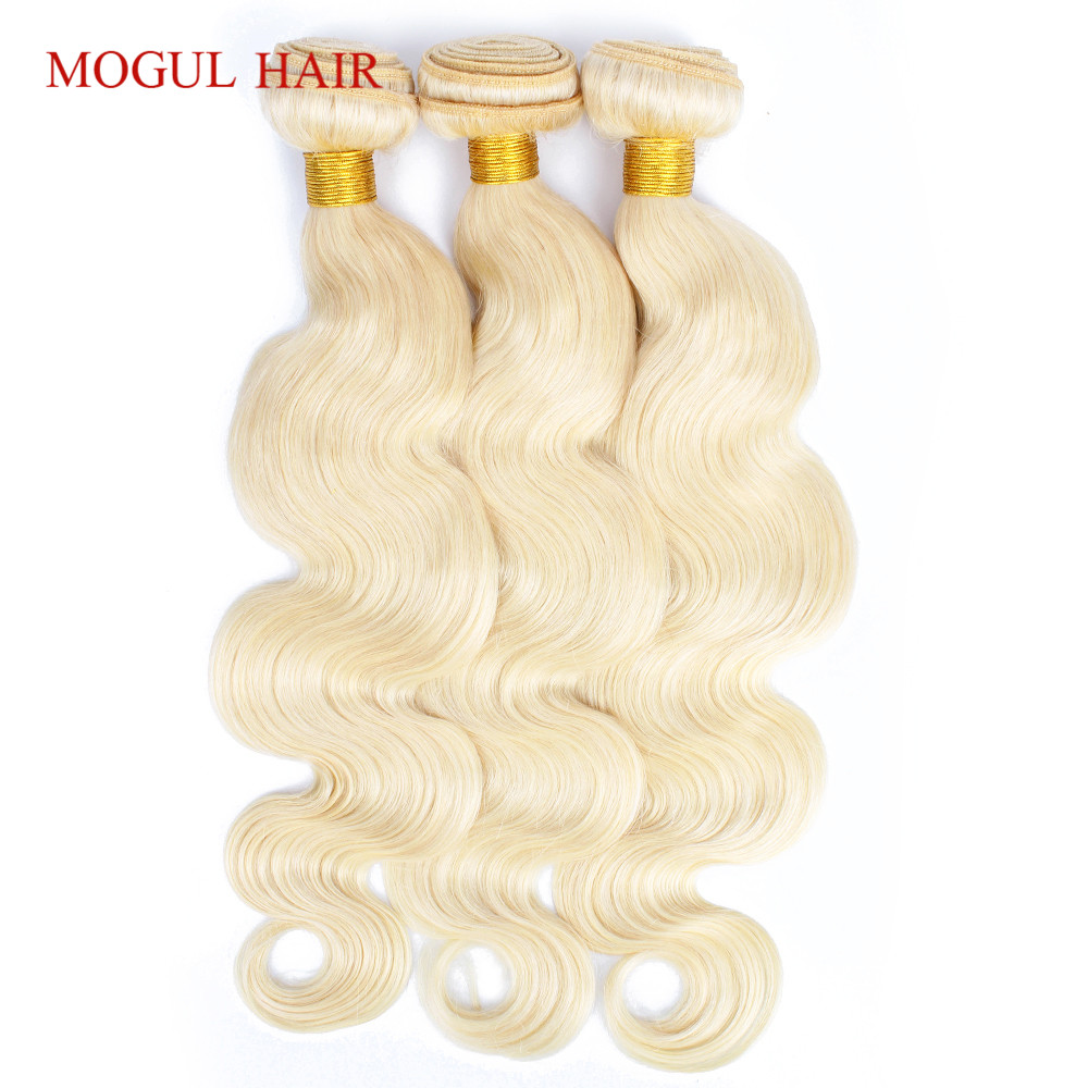 MOGUL HAIR Brazilian Body Wave Hair Weave Bundles Color 613 Platinum Blonde 2 3 Bundles 10