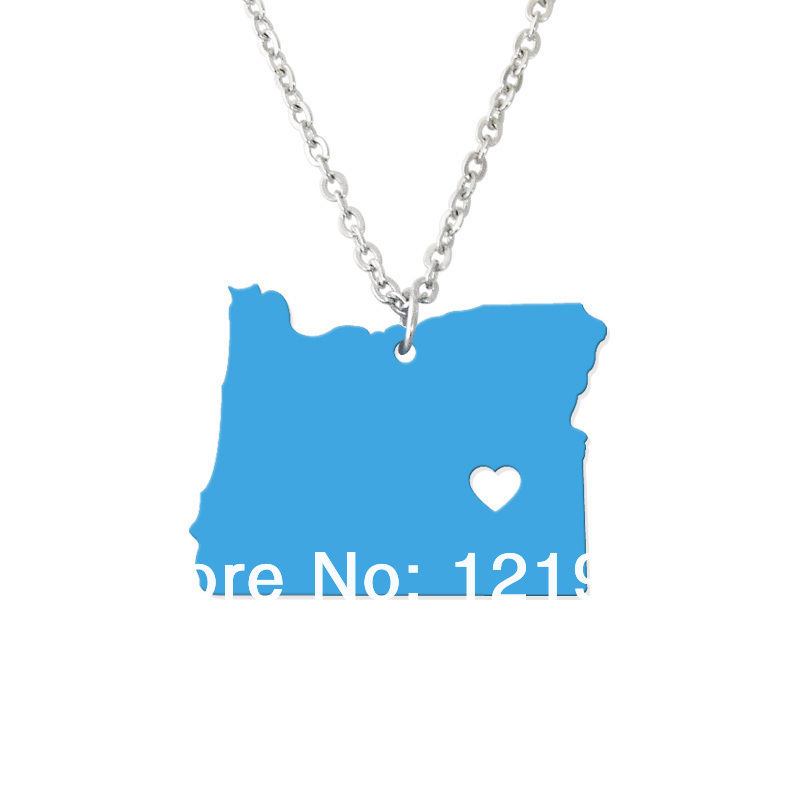 State jewelry - I heart Oregon Necklace - Map Pendant - State Charm - Personalized Oregon Map Heart necklace