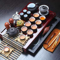 Heißer Verkauf Yixing Keramik Kung Fu Tee-Set Massivholz Tee-tablett Teekanne 27-stück Tee Anzug Chinesischen Tee zeremonie