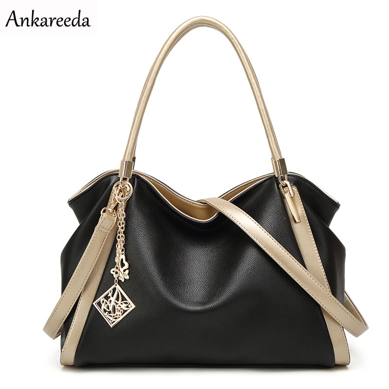 Ankareeda All Seasons Embossed Luxury Leather Women Bags Famous Brand PU Leather Handbags Ladies Casual Shoulder Tote Bags classic black leather tote handbags embossed pu leather women bags shoulder handbags elegant