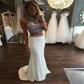 Sexy dois 2 peça Top curto vestidos de baile 2016 moda Halter frisado agradável diamante pedrinhas Mermaid Prom vestido Formal Maxi Dress