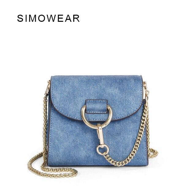 bf9b8d53c SIMOWEAR 2017 New Arrivals Casual Denim Fabric Lady's Shoulder Bag Mini Flap  Chain Bags Women Messenger Bag Makeup Bag