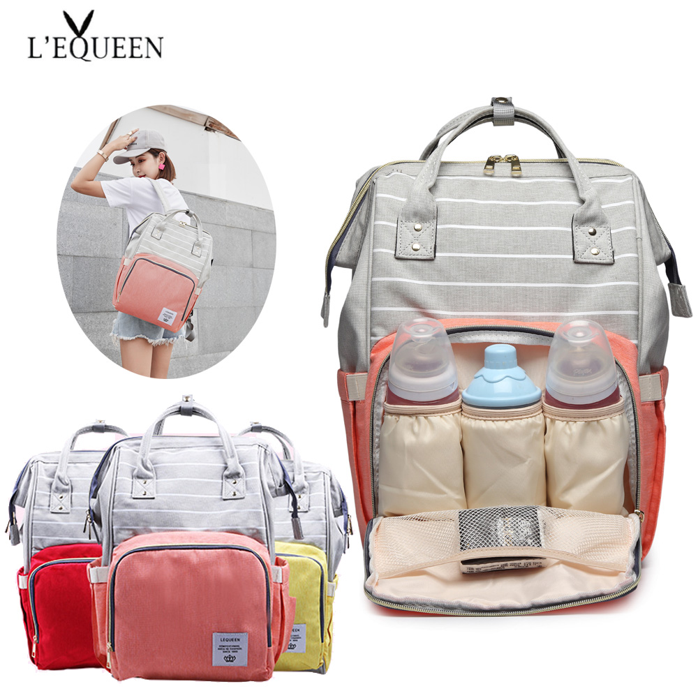 Fashion Mummy Bag Striped Maternity Nappy Bag Large Capacity Baby Bag Travel Backpack Designer Nursing Bag for Baby CareDiaper Bags   -