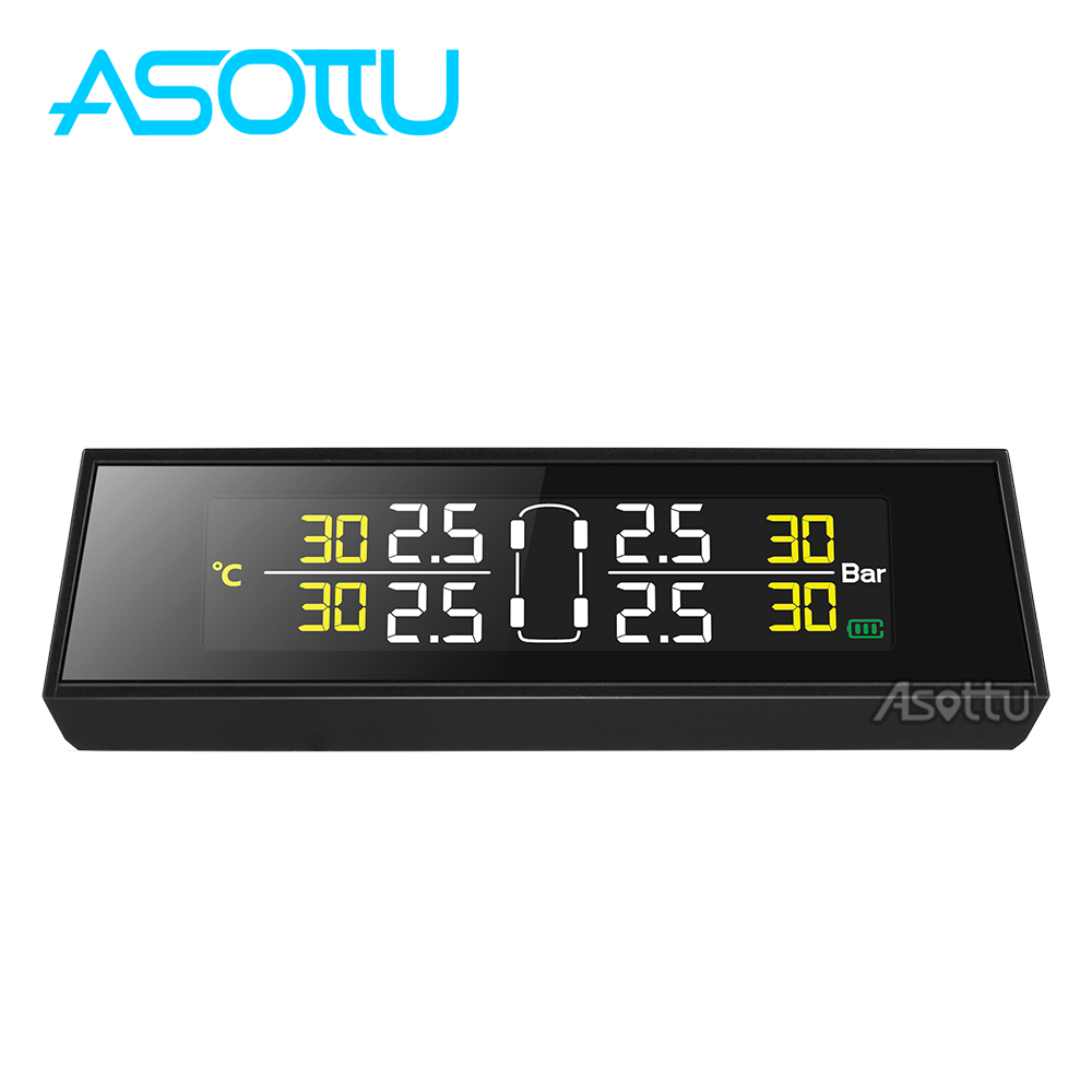 Asottu Smart Car Tpms Tire Pressure Monitoring System Internal Solar Panel External Sensor Temperature Warning Power Charging In Alarm From