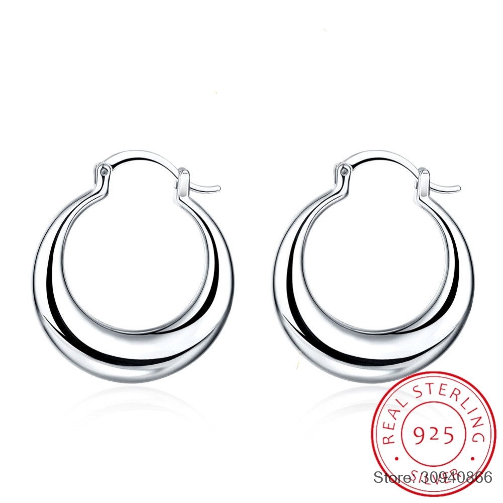 SMTCAT Crescent Moon Round Creole Hoop Earrings for Women 925 Sterling Silver Statement Fine Jewelry Brincos Female Gifts