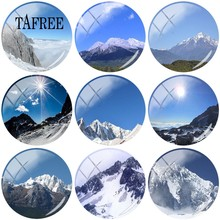 TAFREE Natural landscape Yulong Snow Mountain Scenery Photo Round DIY Glass Cabochon & Glass Dome Demo Flat Back Making Findings(China)