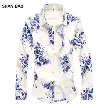 2018 Autumn New Fashion Chemise Homme Chinese Style Long Sleeve Floral Shirt Men Slim Fit Mens Casual Dress Shirts Plus Size 7XL