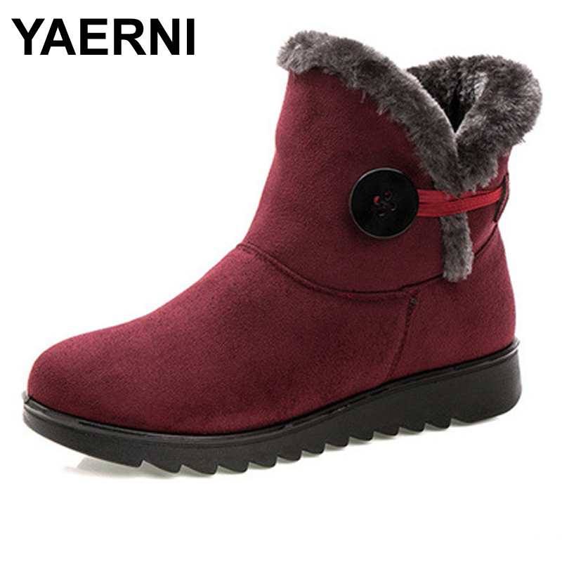 YAERNI Hot Sale Shoes Women Boots Solid Slip-On Soft Cute Women Snow Boots Round Toe Flat with Winter Fur Ankle Boots cute women winter snow boots slip on soft fur warm shoes candy color ankle boots woman round toe solid flat biker boots