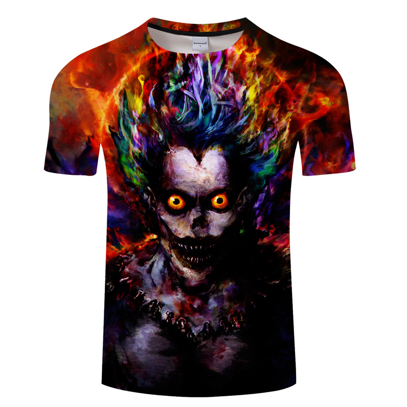 Novel Designs Delightful Colors And Exquisite Workmanship Charitable Full Print Death Note Ryuuku T-shirt Short Sleeve Fashion Big Size Death Note Ryuuku T Shirt Top Tees Tshirt Plus Size T-shirt Famous For Selected Materials