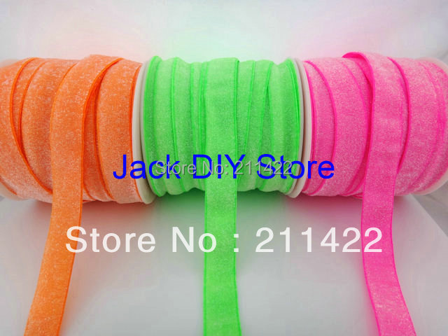 """3rolls 25yards/roll  5/8"""" Frosted Neon Green Neon Pink Neon Orange Glitter Elastic for headband Hair Accessories Free Shipping"""