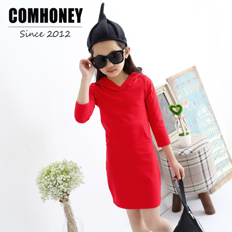 Girls Dress Chinese Style Red Dresses with Hooded Baby Tunic Long Sleeve Cute 5-14T Kid Princess Party Costume Autumn Vestido dress coat traditional chinese style qipao full sleeve cheongsam costume party dress quilted princess dress cotton kids clothing