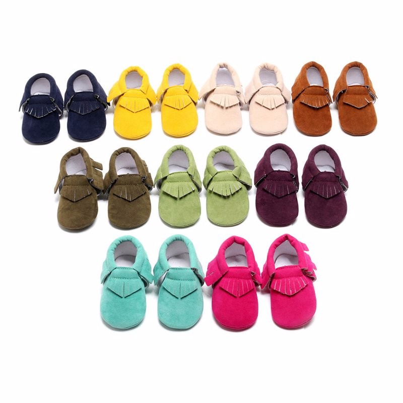 PU Suede Leather Newborn Baby Boy Girl Baby Soft Moccs Shoes Fringe Soft Soled Non-slip Footwear Shoe QF