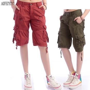 Denim Pantalon Femmes 2019 Army Green Loose Knee Length Multi-Pocket Baggy Jeans Cargo Short Pants Men/Womens Military Trousers