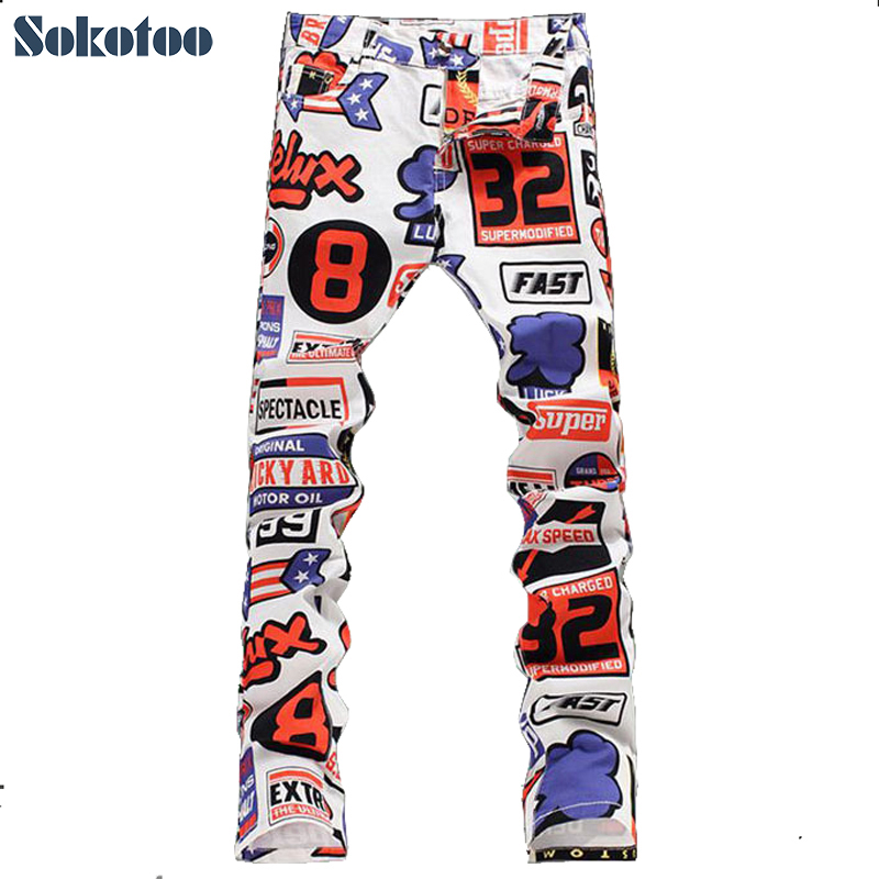 Sokotoo New Summer Men's fashion numbers and letters print jeans Male casual slim thin denim pants Long trousers Free shipping  free shipping new spring and summer fashion men s denim jeans slim wear white pantyhose feet
