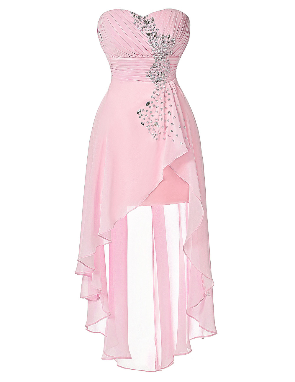 High Low Bridesmaid Dress 2017 Short Front Long Back Prom Gown Strapless Bead Sequin Pink Turquoise Bridesmaid Dress Grace Karin 7