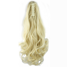 Soowee Long High Temperature Fiber Hair Pieces with Clip Claw Ponytail Synthetic Hair Extensions Pony Tail Hairpiece