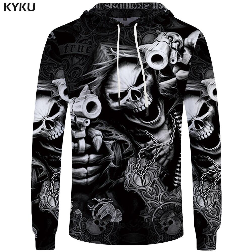 KYKU Marque Crâne Sweatshirts pistolet 3d hoodies Punk Sweatshirts Homme Gothique 3d à capuche Hommes Frais À Capuche Anime Sweat À Capuche Vêtements