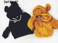 Dvotinst赤ちゃん男の子女の子服フルスリーブプルオーバーブラックイエロー動物クマセーターinfantil幼児児童衣装