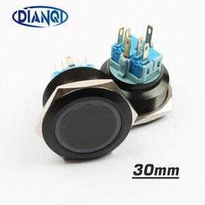 30 мм Алюминиевый металлический кнопочный переключатель плоское кольцо круглое мгновенное 6 pin автомобильные переключатели сброс фиксации ...