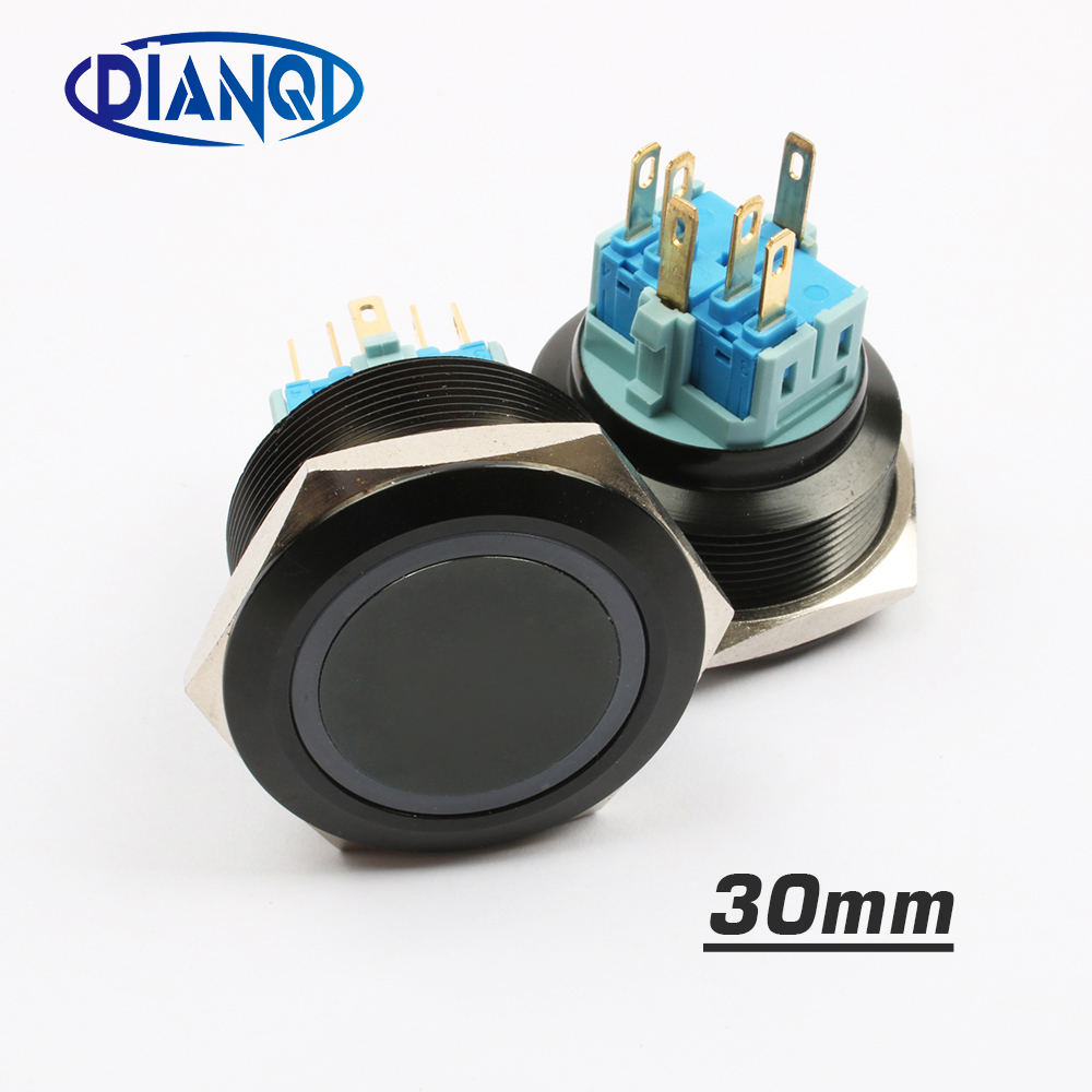 30mm Alumina metal push button switch flat ring round momentary 6 pin car switches reset latching fixation 12v 5v car switches