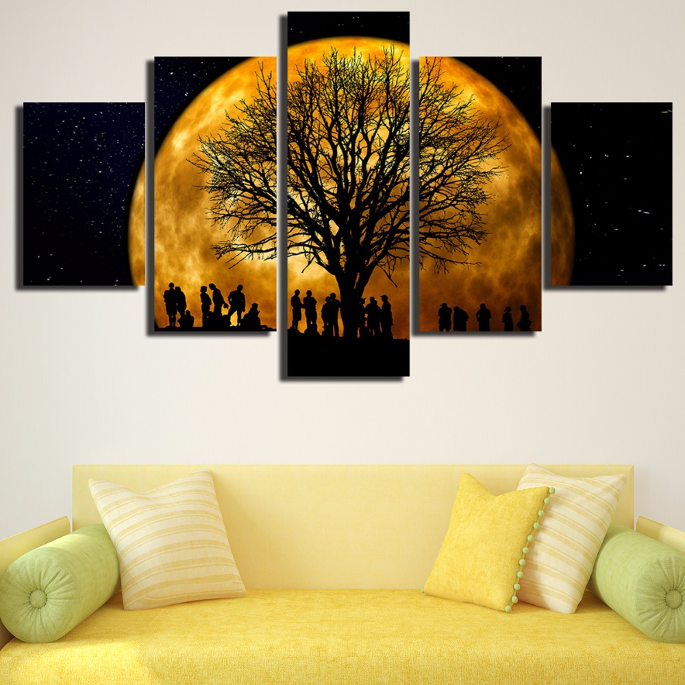 Unframed Romantic Moon and Tree Silhouette 5 Piece Modern Wall ...