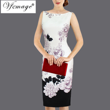 Vfemage Womens Elegant Vintage Flower Floral Print Pinup Tunic Casual Wear To Work Office Party Pencil Sheath Dress 2987