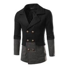 2016 Зимний мужской моды Slim Fit шерстяные пальто Новая мужская одежда случайный Тонкий заклинание цвет шерсти пальто куртки высокое качество