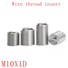 20Pcs M10*1D Stainless Steel Coiled Wire Helical Screw Thread Inserts M10 Screw Bushing self tapping thread repair tool