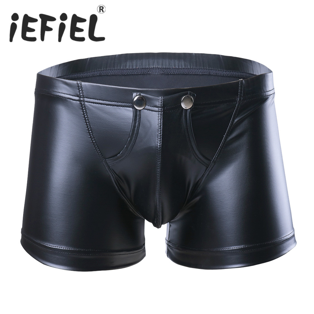 New Arrival Fashion Sexy Men Lingerie Faux Leather Shorts Underpants Underwear Press Button with Bulge Pouch Nightwear Panties(China)