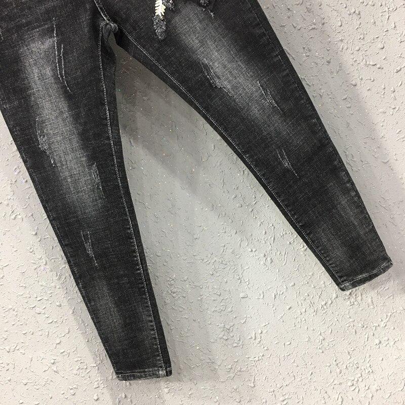 Pantaloni Perline Distressed Autunno Donna Nero Da Di Elastici Della Jeans Donne Estate Molla Casual Del Denim Dei Pantaloni Ricamo Progettista rA1rq0aw7