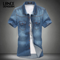 3 color blue summer denim jeans shirt for men short sleeves 2014 summer Korean style fashion washed Slim Man casual GOOD QUALITY