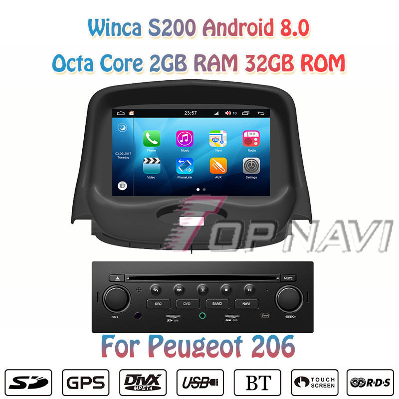 Topnavi Octa Core 7 S200 Android 8.0 Car DVD Multimedia Player for Peugeot 206 Audio Radio Stereo 2DIN GPS Navigation In Dash