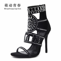 2018 Women Sandals Peep Toe Women Spring Summer High Heels Fashion Gladiator Casual Rhinestones Crystal Thin