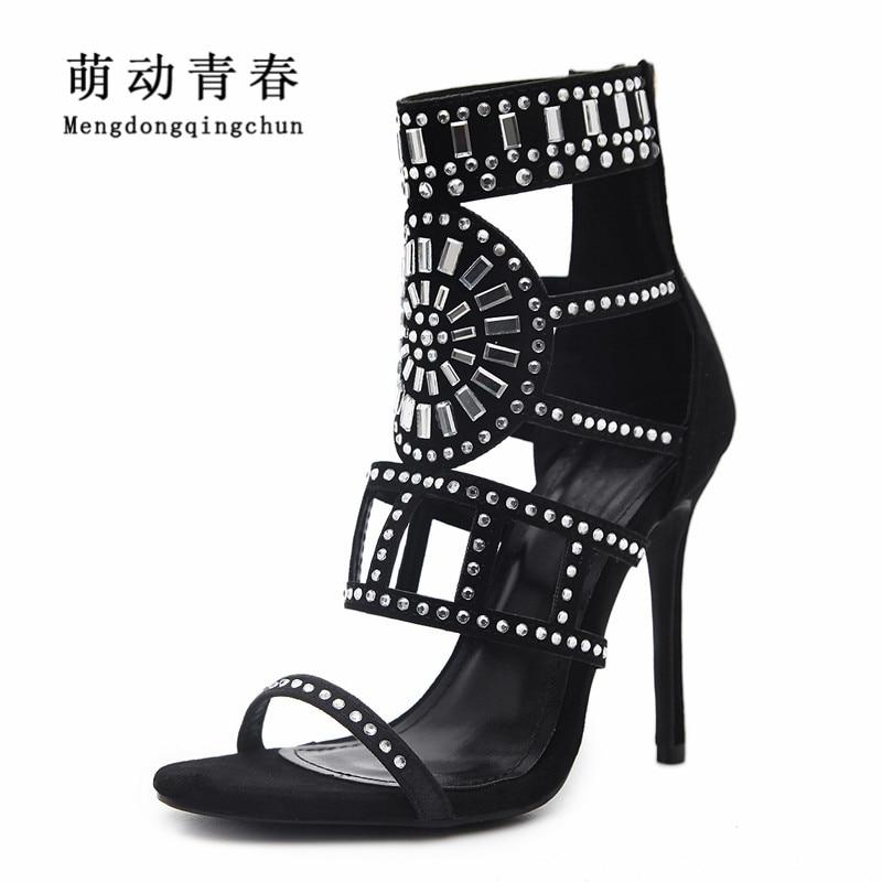 2018 Women Sandals Peep Toe Women High Heels Shoes Fashion Gladiator Casual  Rhinestones Crystal Thin Heel f9b41d28a4ba