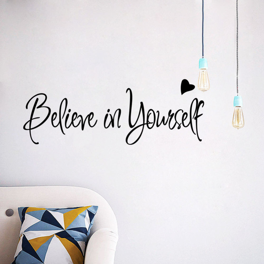 Believe In Yourself Inspirational Quote Vinyl Wall Sticker Mural Home Decor Art Decal