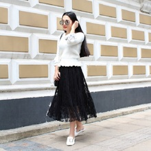Elegant Lace Pleated Long Skirt SF