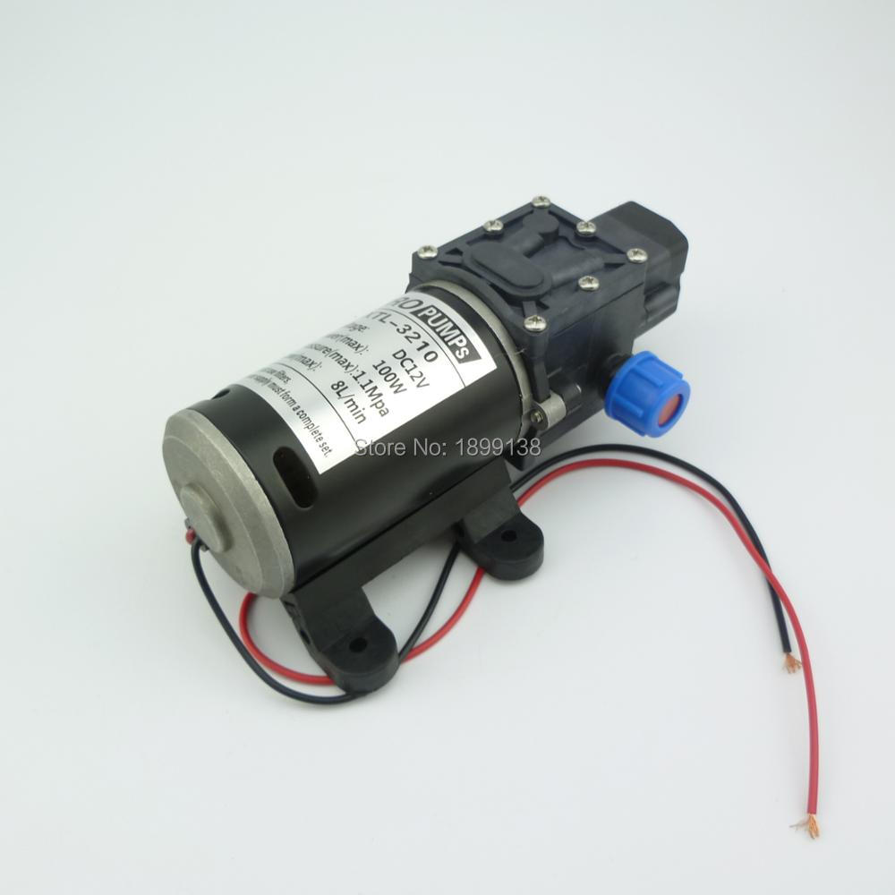 MIni 8L//min 100W 12V 160PSI Water Pump High Pressure 8Lpm Self-Priming Caravan