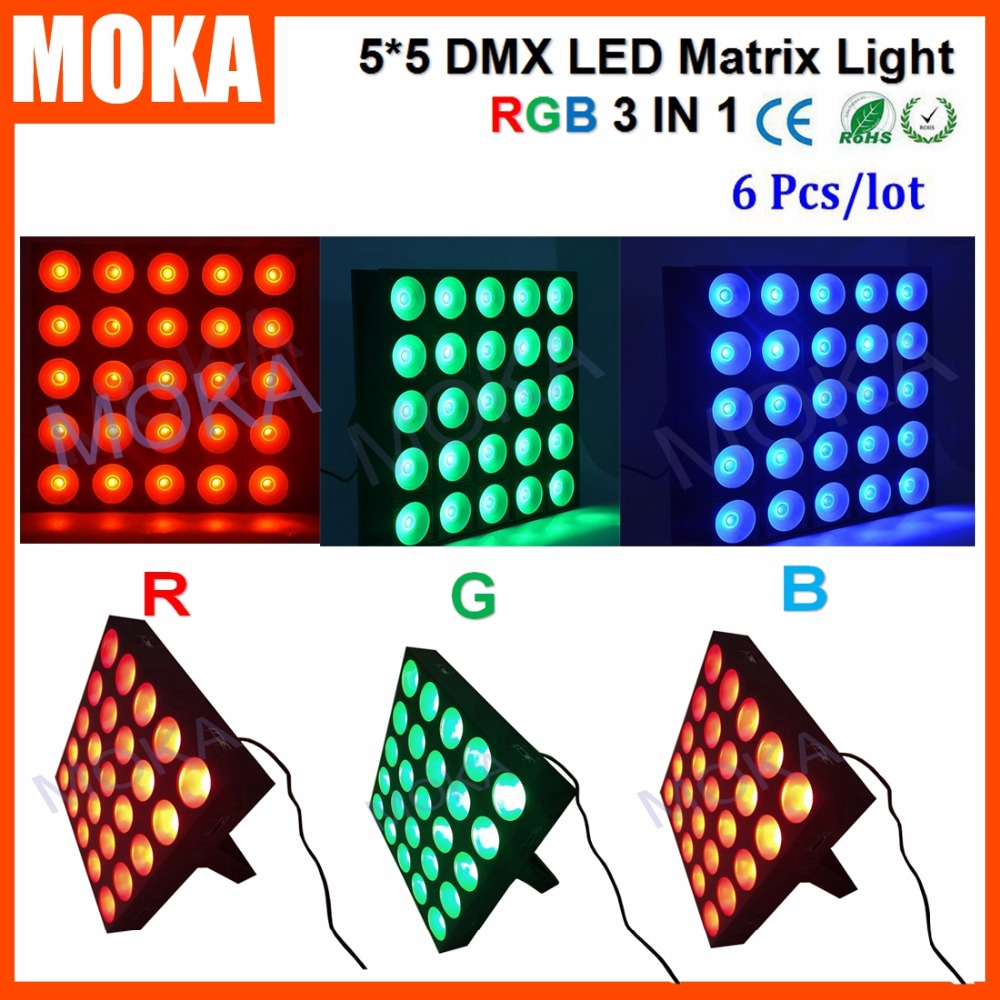 6PCS/LOT 25 Heads Matrix 5*5 Light 25*30W Led DMX 512 RGB Stage Bar Blinder Light for Concert Music Big Event
