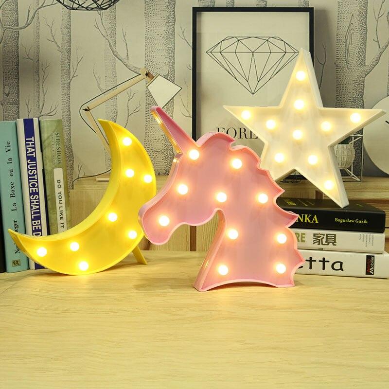 Mond Kaktus Wolke Nachtlicht 3D Luminaria Einhorn Stern Led lampe Nachtlicht Festzelt Brief Geschenk Spielzeug Schlafzimmer Dekor Für Kinder Baby