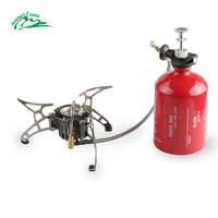Jeebel Non-préchauffage essence cuisinière à gaz ensemble 1000ml grande capacité bouteille Camping en plein air portable brûleurs avec pare-brise