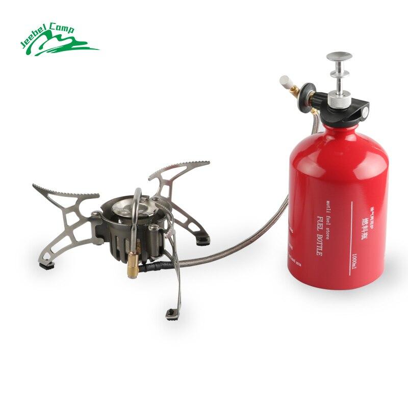 Jeebel Non-préchauffage Essence Poêle Au Gaz Ensemble 1000 ml Grande capacité Bouteille En Plein Air Camping portable Brûleurs avec Pare-Brise